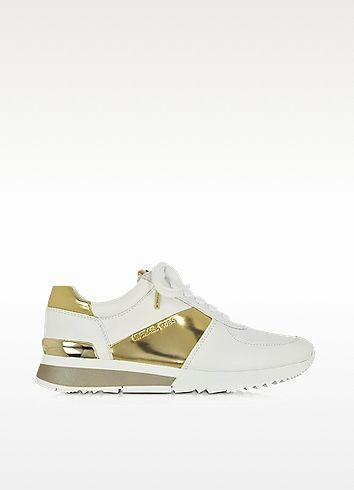 128098cf361af MICHAEL KORS Allie Optic White And Gold Leather Sneaker.  michaelkors  shoes   sneakers