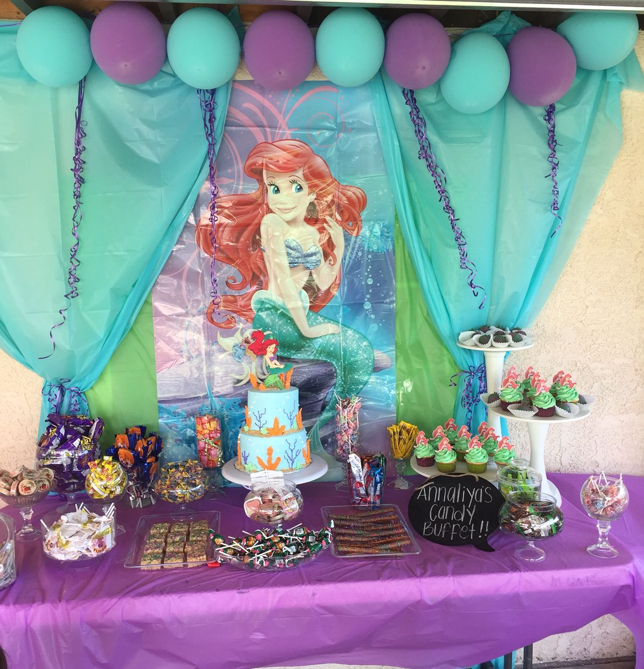 Annaliyas little mermaid candy table annaliyas little for Ariel decoration party