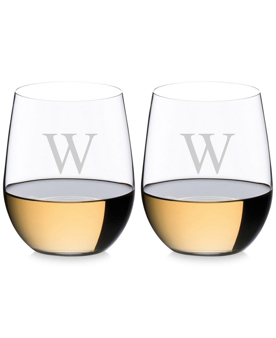 O Monogram Collection Pc Block Letter Chardonnay Stemless Wine