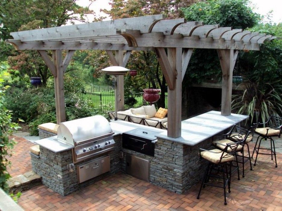 Amazing Outdoor Area Featuring Modular Kitchen Set With Grill And Mini Bar With Barstools Combined With Outdoor Living Room Under Rustic Wooden Pergola Roof Ide Outdoor Kitchen Plans Outdoor Kitchen Design