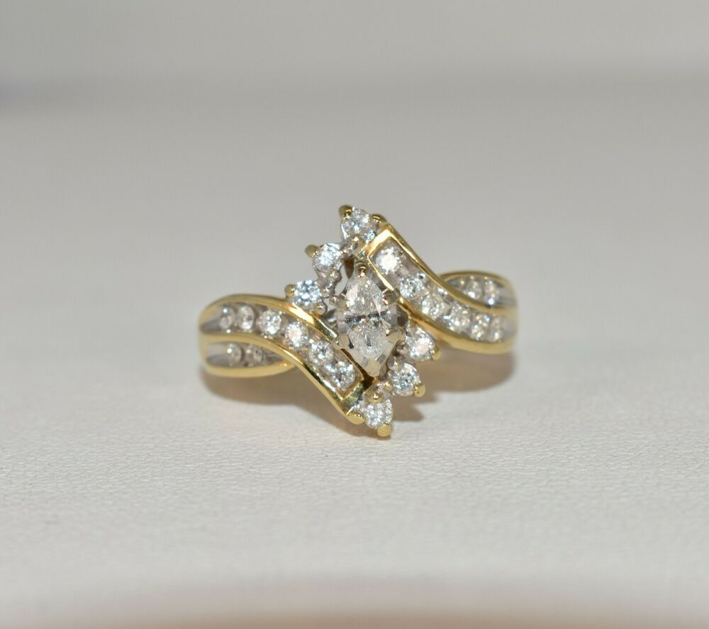 14 K Yellow Gold 1 2 Ct Tw 1 4 Ct Marquise Diamond Solitaire Engagement Ring Keepsake Solit Yellow Gold Engagement Rings Bridal Ring Sets Wedding Ring Bands