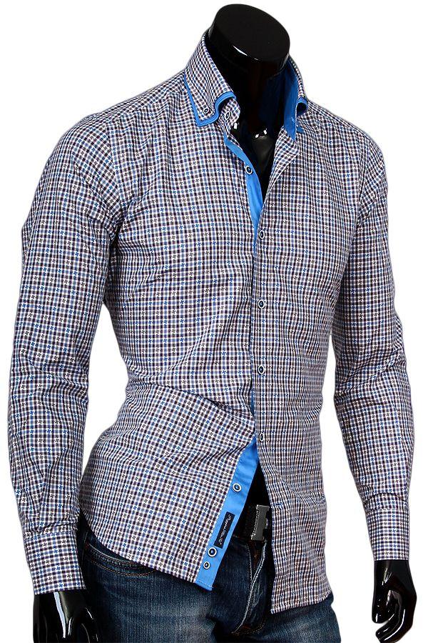 Купить Приталенная мужская рубашка с высоким комбинированным воротником  фото недорого в Москве 5e251b279da6b