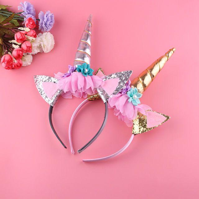 Flower Unicorn Horn Head Hair Headband Party Fancy Dress Birthday BLUE