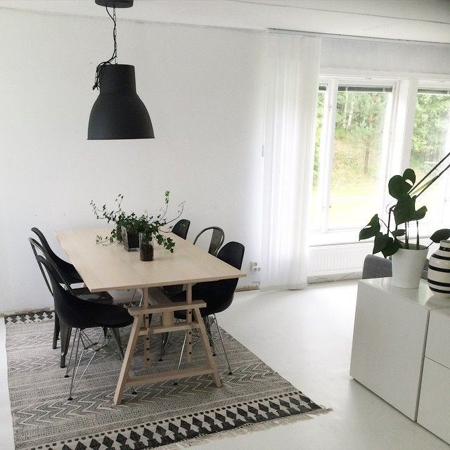 Pale Wood Table, Black Chairs, Ikea Hektar Pendant, White Walls. Not Sure