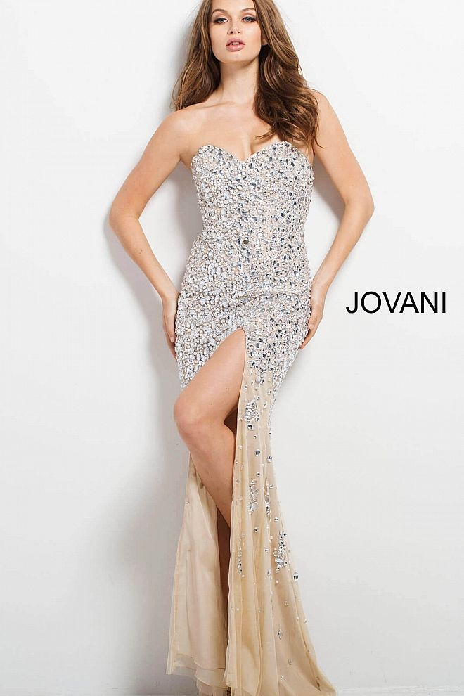 Nude And Silver Embellished Prom Dress 4247 White Weddings