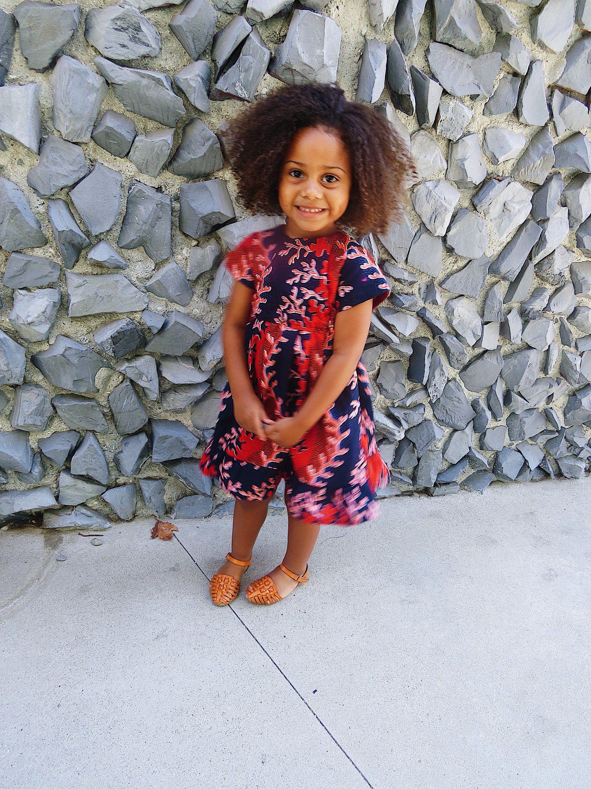 Girls ankara african print short sleeve mini dress with ruffle
