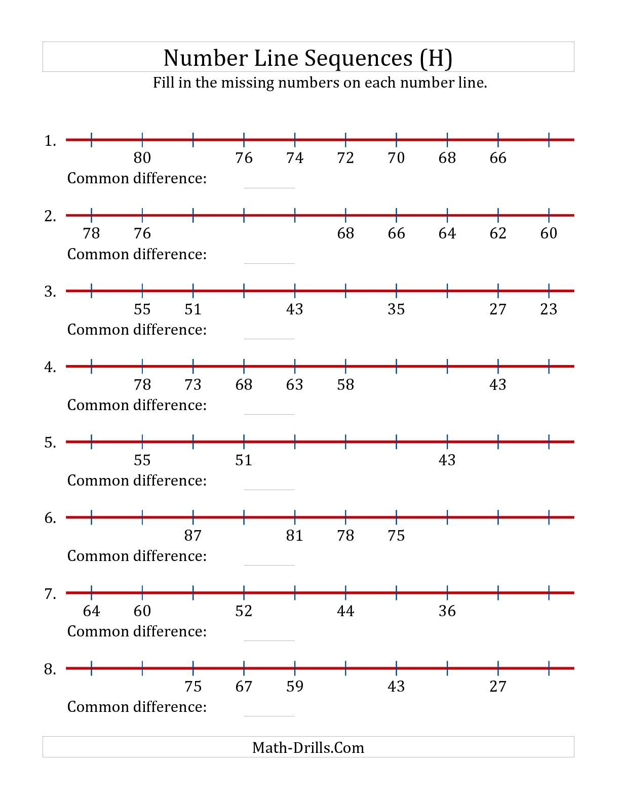 Decreasing number line sequences with missing numbers max