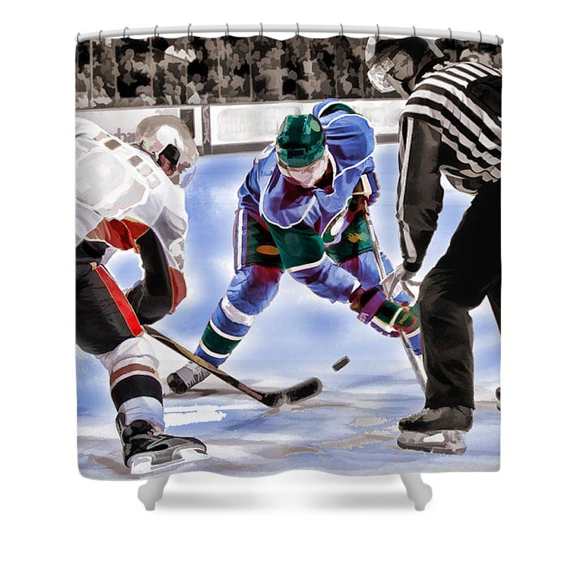 Hockey Players And Referee In Bold Watercolor Shower Curtain For