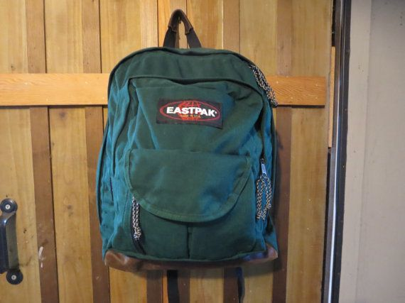 Vintage EASTPAK GREEN Backpack - Eastpak Leather Bottom Backpack ...