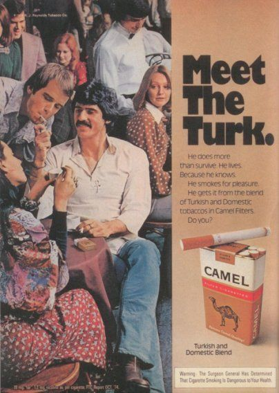 Following the 1967 law requiring cigarette companies to warn consumers about the harmful effects of smoking, this 1975 ad features a surgeon general's warning.