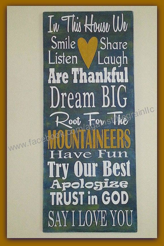 In this house we cheer-root for handpainted wooden wall sign, Perfect for college football fans, WVU-Mountaineers-OSU-Buckeyes and more. on Etsy, $36.00 #wvumountaineers