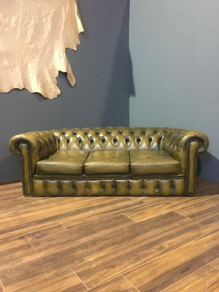 A Really Cool Khaki Green Chesterfield Sofa