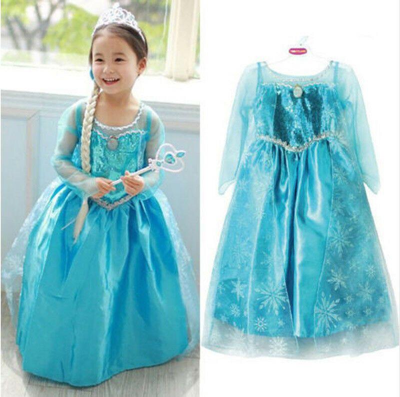 Frozen Tutu Dress Elsa  blue childrens kids girls UK STOCK cheapest on