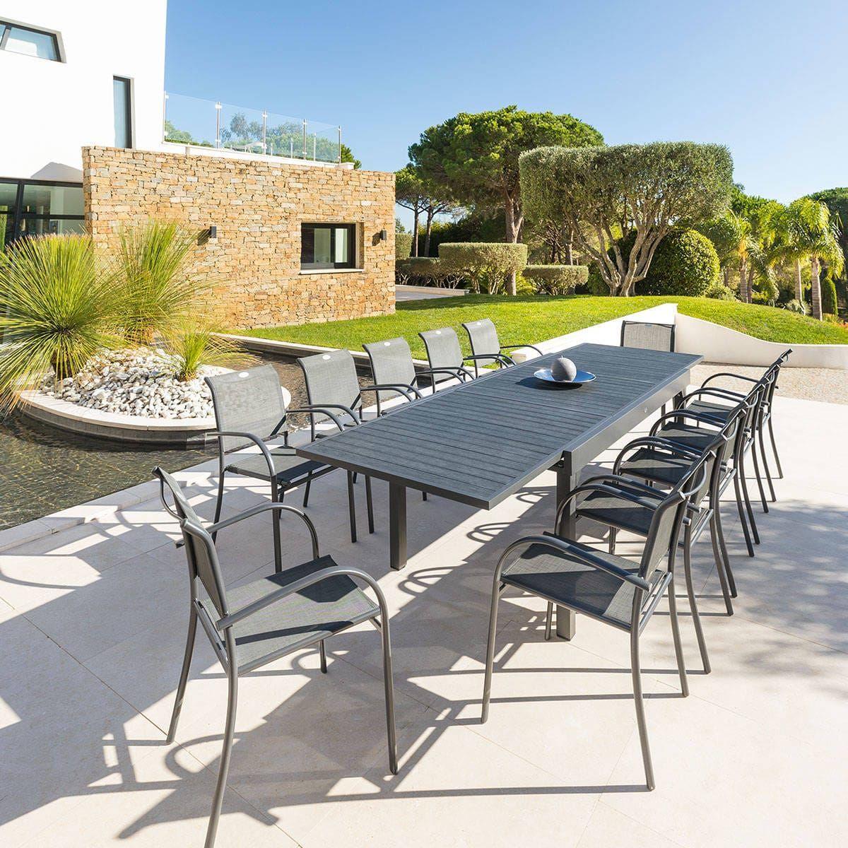 Table De Jardin Extensible Piazza Anthracite Gris Salon De
