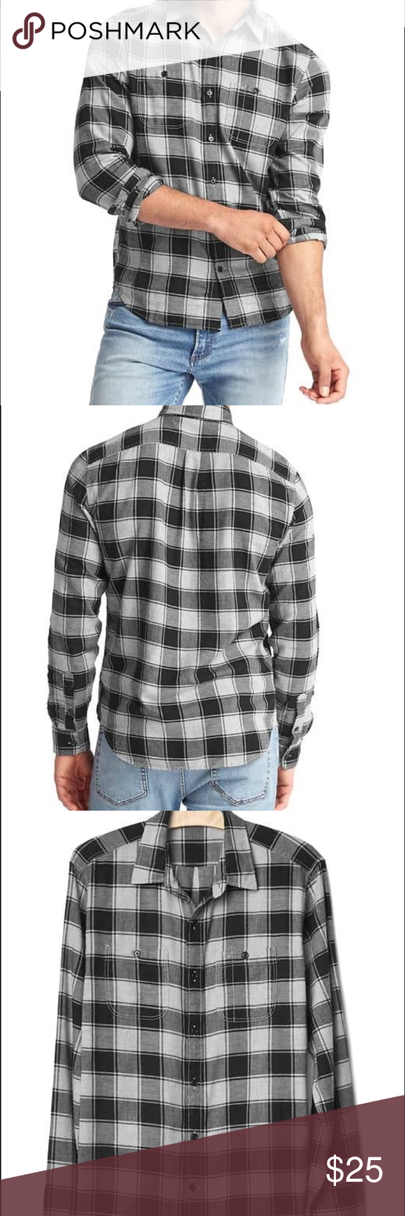 Flannel under shirt  Gap Buffalo check flannel shirt  Flannel shirts Front button and