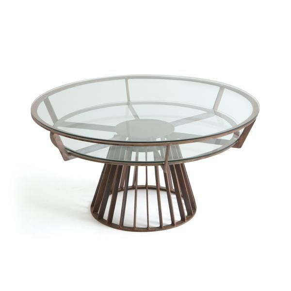 Bingham Rotating Coffee Table In Antique Copper With Glass Top