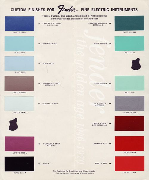 1963 - Fender Color Chart Shell Pink is replaced by Candy Apple Red ...