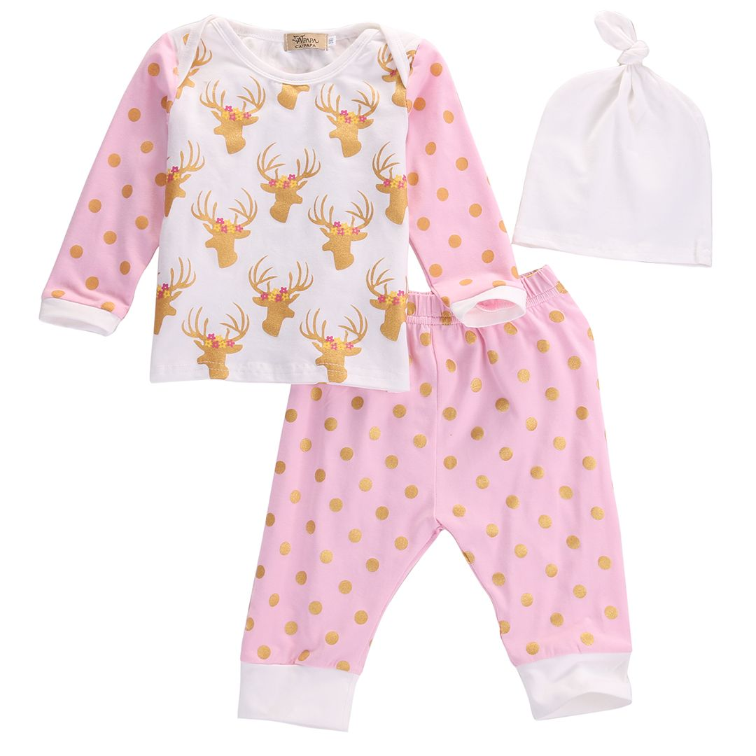 3PC Newborn Infant Baby Girl Boy Shirt Tops+Pants Trousers Outfits Clothes Set #