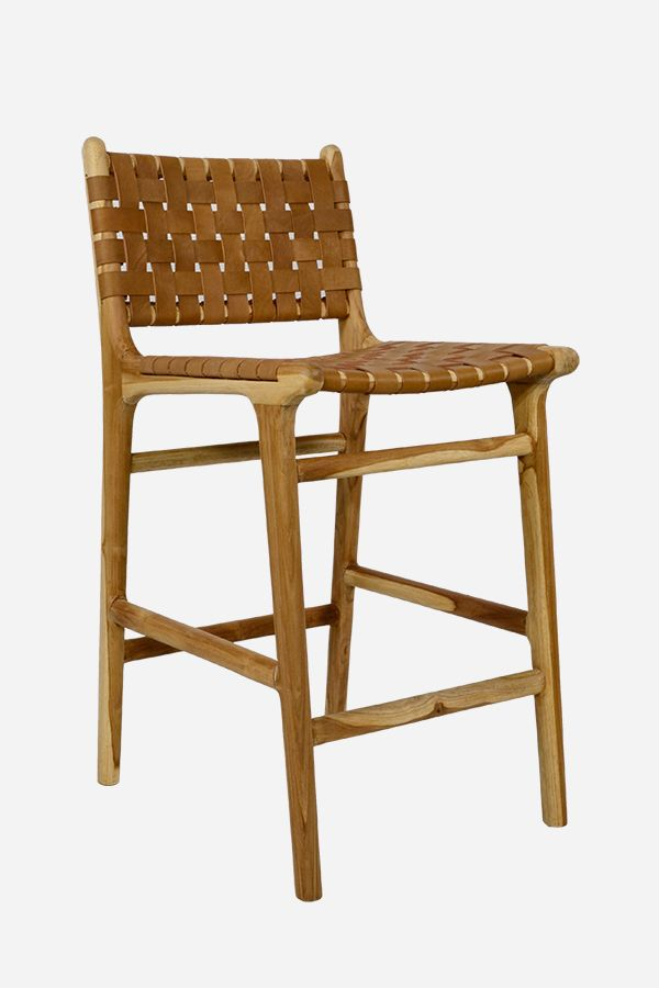 Leather Bar Stool With High Back Strapping Teak Tan Fenton