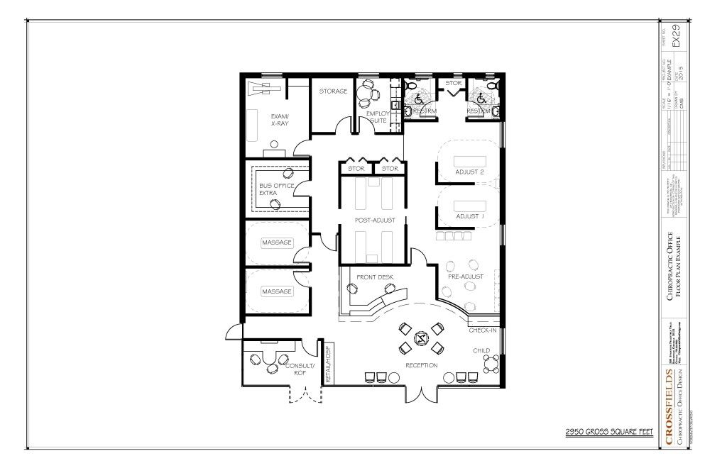 Chiropractic Floor Plan with massage and pre-adjusting and