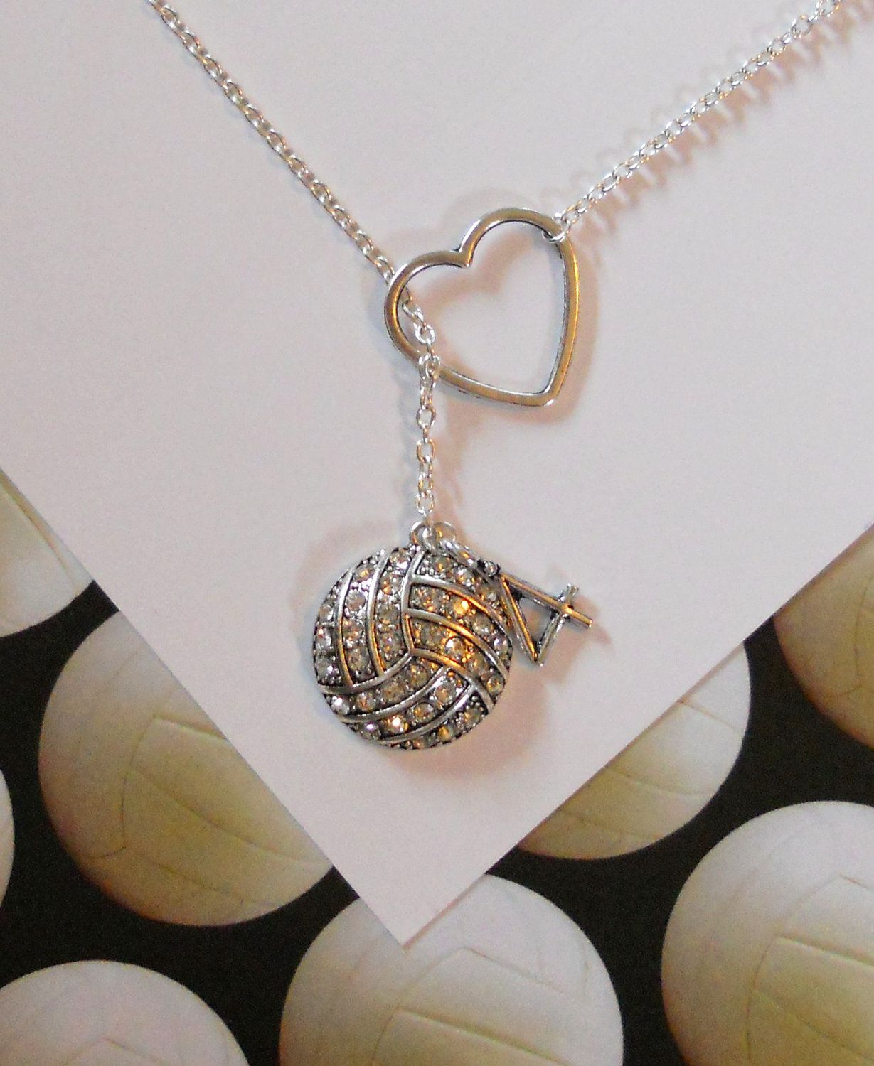 Sale Volleyball Water Polo Necklace With Rhinestones Etsy Volleyball Necklace Volleyball Jewelry Volleyball