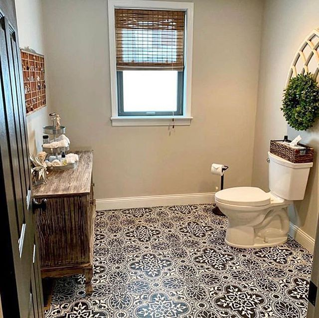 DIY Painted And Stencil Old Bathroom Tile Floor Ideas On A