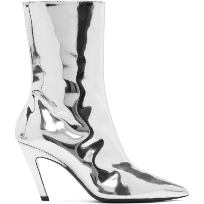 d905d7908cb BALENCIAGA Silver Mirror Slash Heel Boots. #balenciaga #shoes ...
