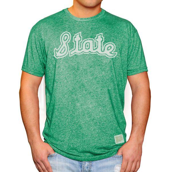 5a8021a304430b Michigan State Spartans Original Retro Brand State School Logo Mock Twist  T-Shirt - Green 4