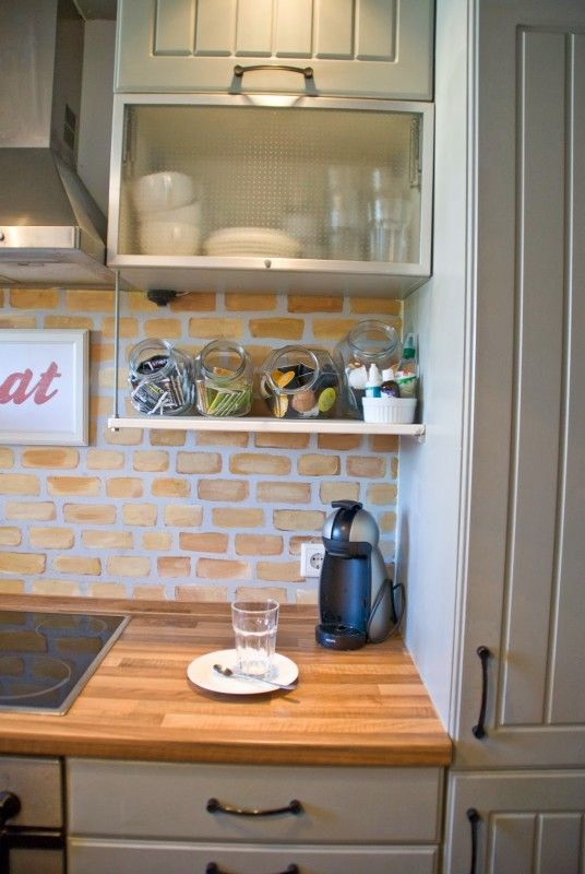 Open Shelf Beneath Cabinets With Brick Backsplash And Butcherblock Countertops Pudel Design