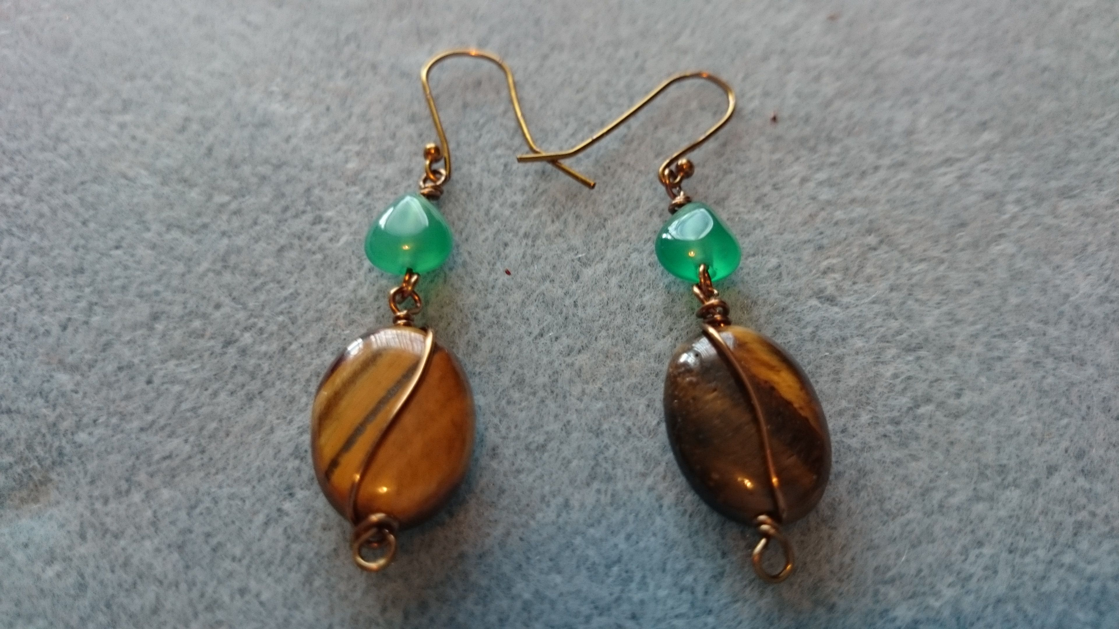 Tigers Eye and green onyx wire wrapped earrings www.facebook.com ...