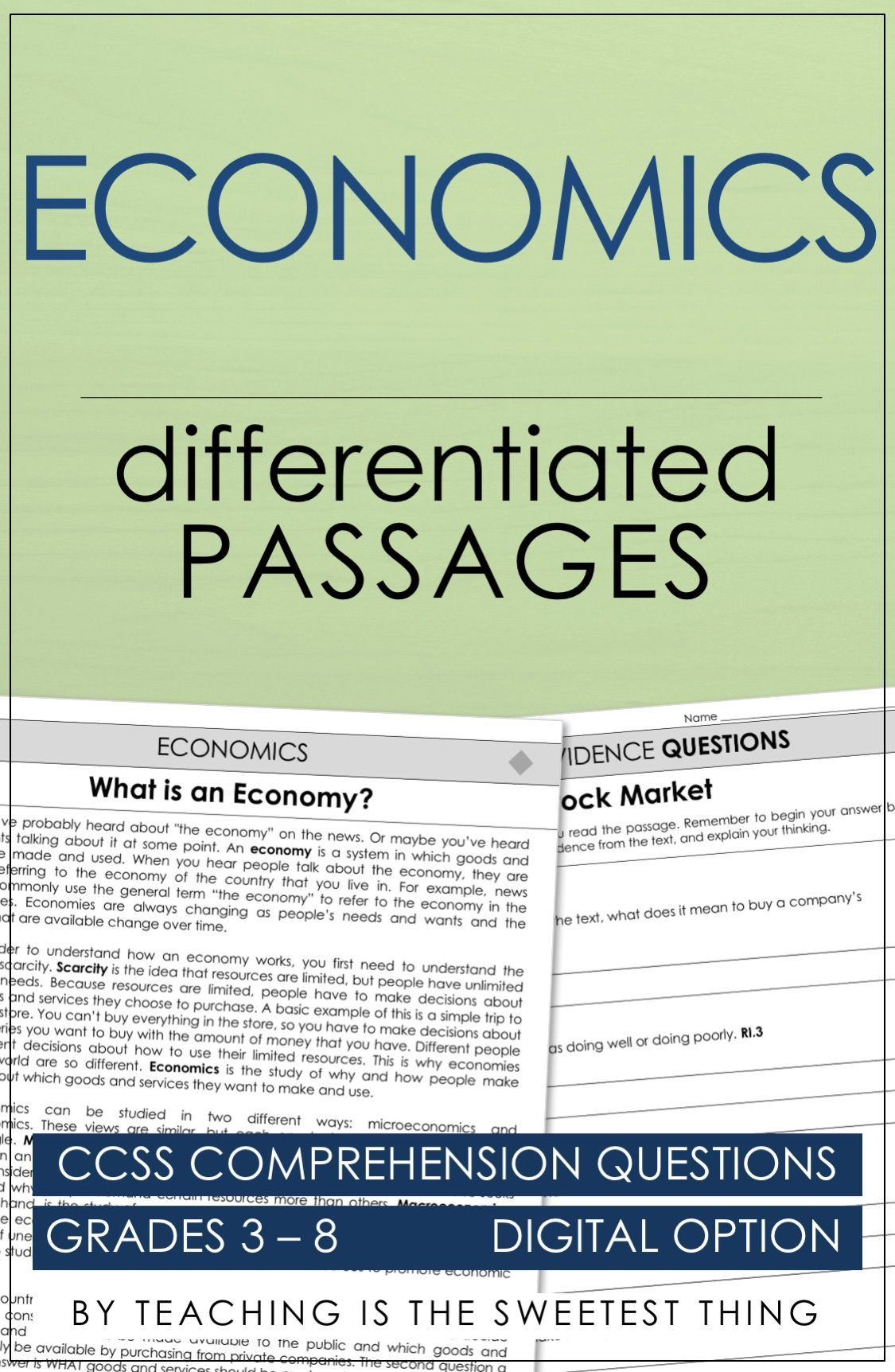 Economics: Passages | Reading Lessons and Ideas | Reading lessons
