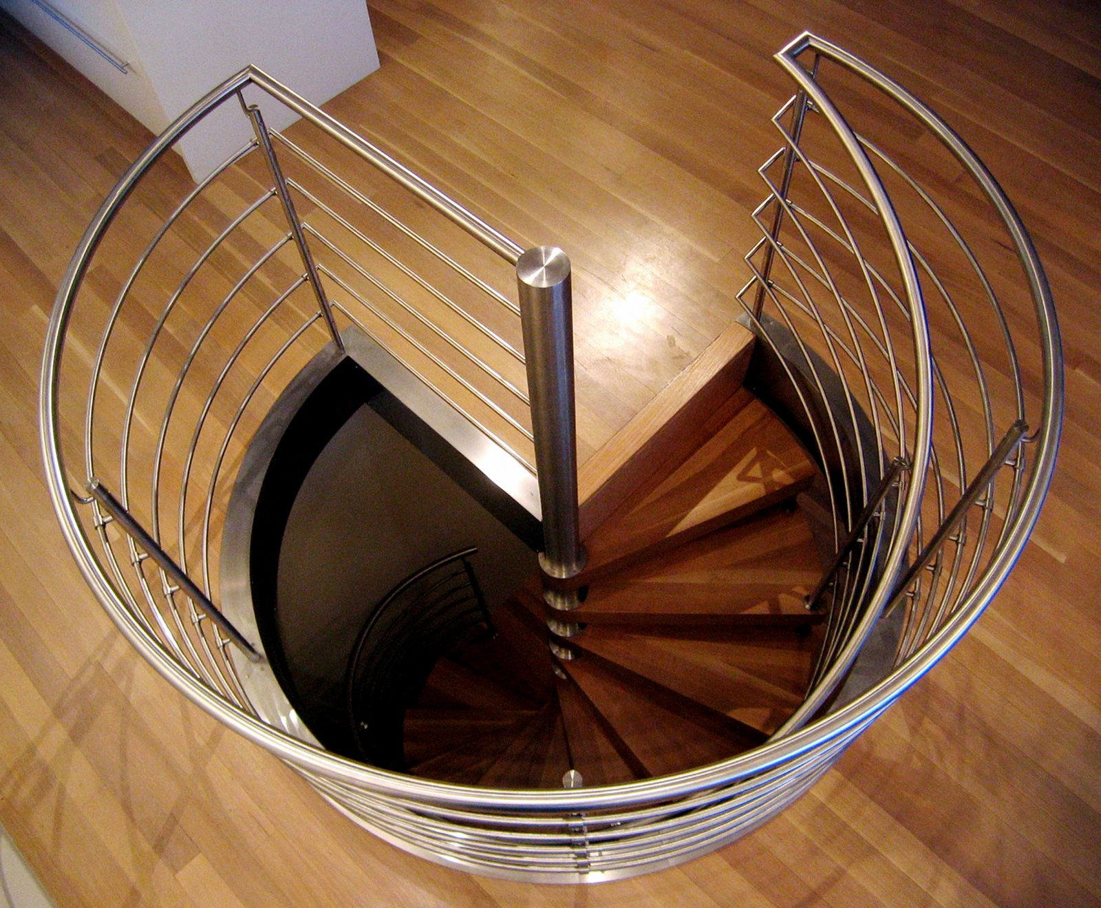 Spiral staircase to basement top view google search for House plans with curved staircase