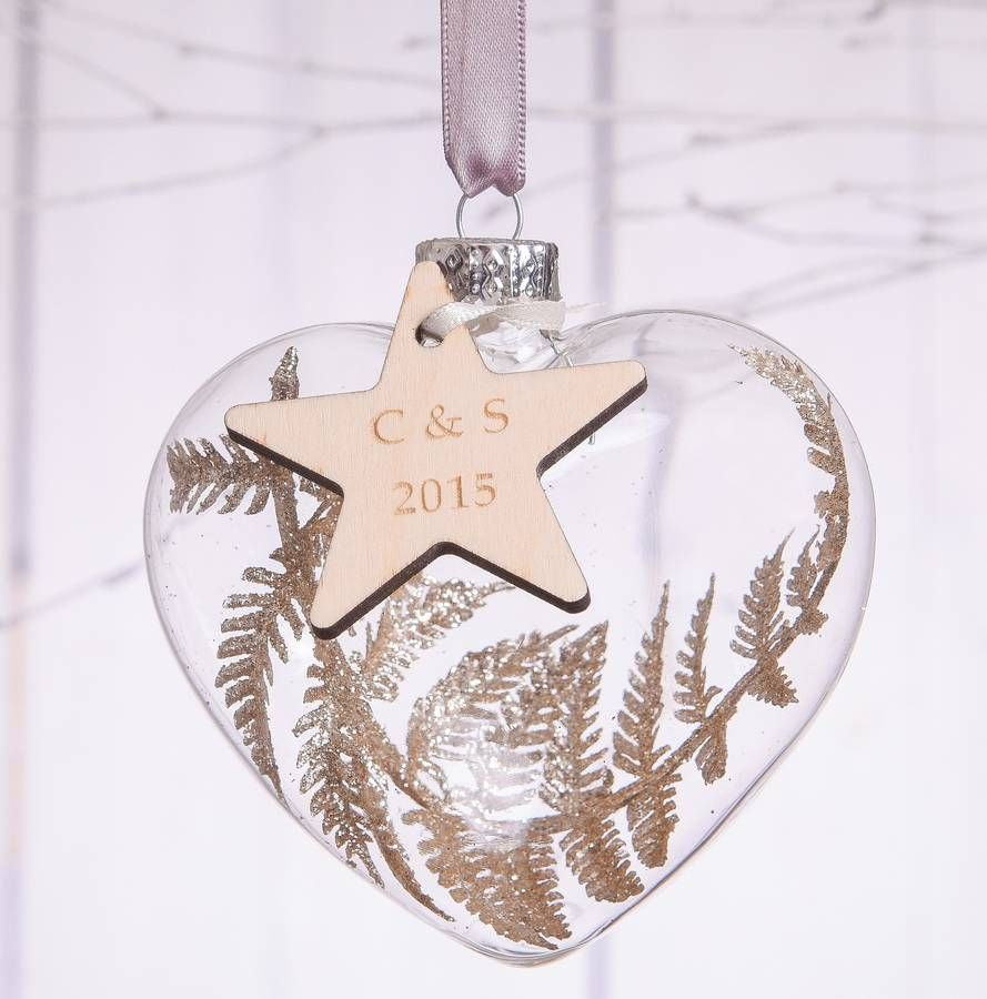 Personalised Couples Glass Heart Bauble   hem   Pinterest   Couples ...