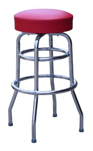 Commercial Grade Red Restaurant Swivel Bar Stool Made In Usa For