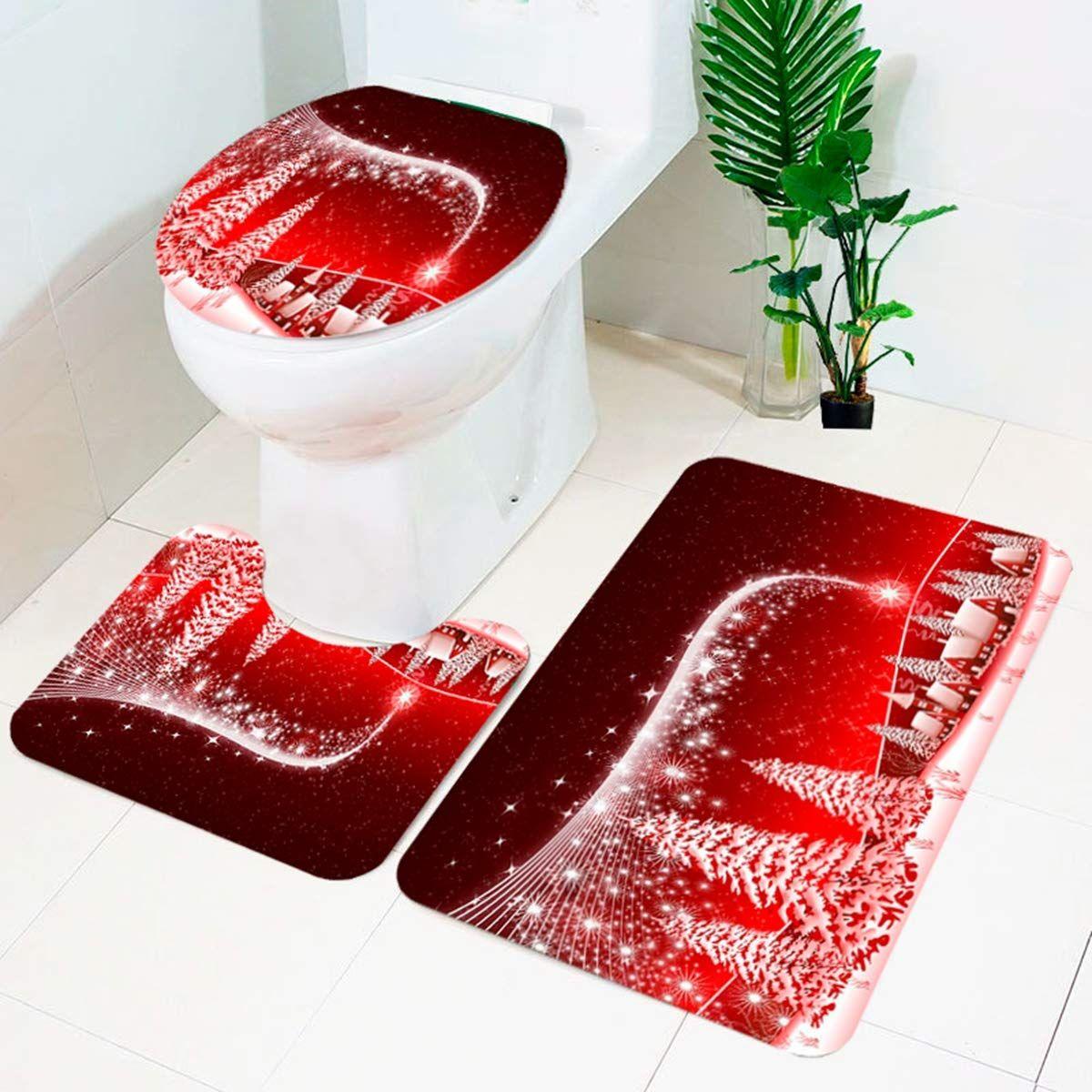 Christmas Bath Mats Set 3 Piece Bathroom Mats Set Non Slip