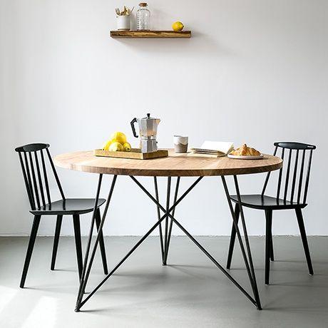 Runder Eichen  U0026 Stahl Tisch   Alt_image_two