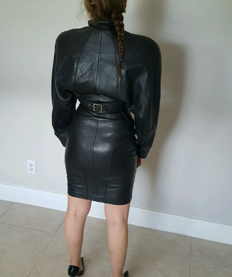 999e355143 Michael Hoban north beach leather Dress 80 s Retro Vintage Lined ...