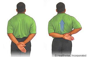 behindtheback stand up straight and place your left hand