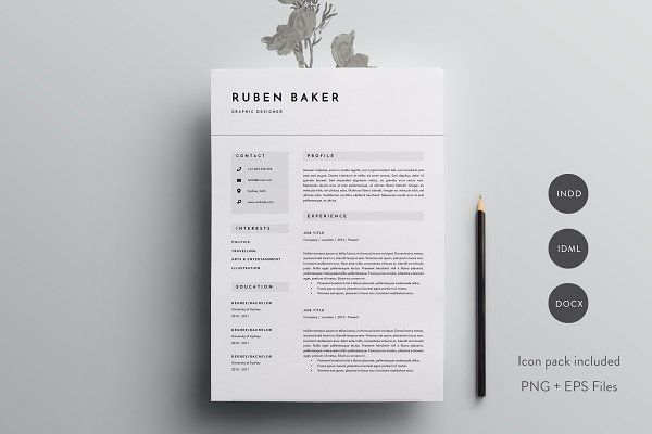 Contemporary Resume Templates 3 Page Resume Template  Indd  Docx  Baggy  Pinterest  Template .