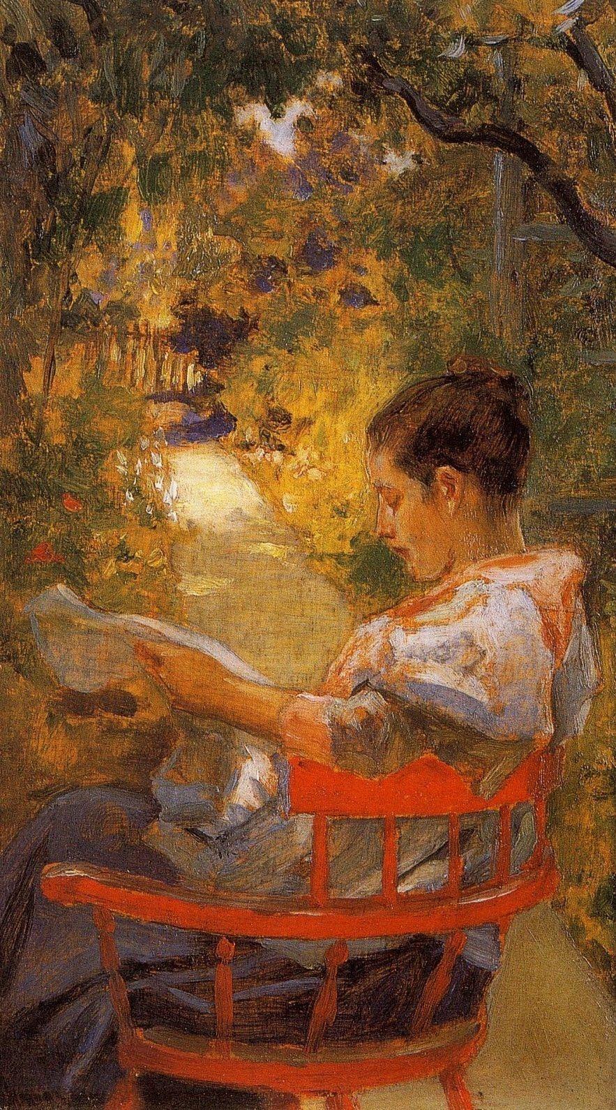 In the Garden (1897). Irving Ramsey Wiles (American, 1861-1948). Oil ...