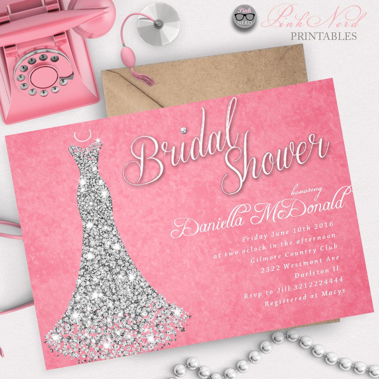 Bridal shower invitation glitter wedding dress sparkling bridal ...