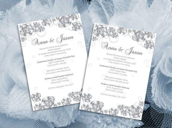 Diy Printable Wedding Invitation Card Microsoft Word Template Silver Diy Printable Wedding Invitations Wedding Invitation Cards Printable Wedding Invitations