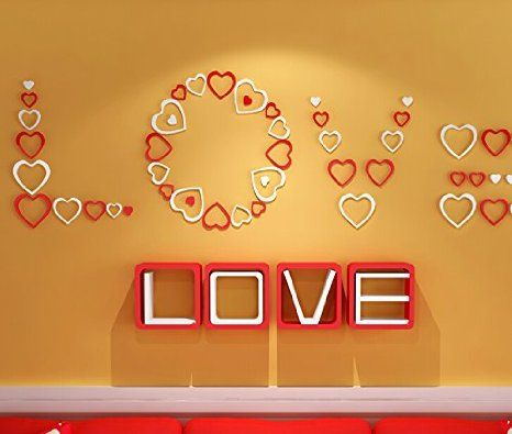 Zjchao Wooden 3D Heart Wall Stickers for Living Room Bedroom DIY ...