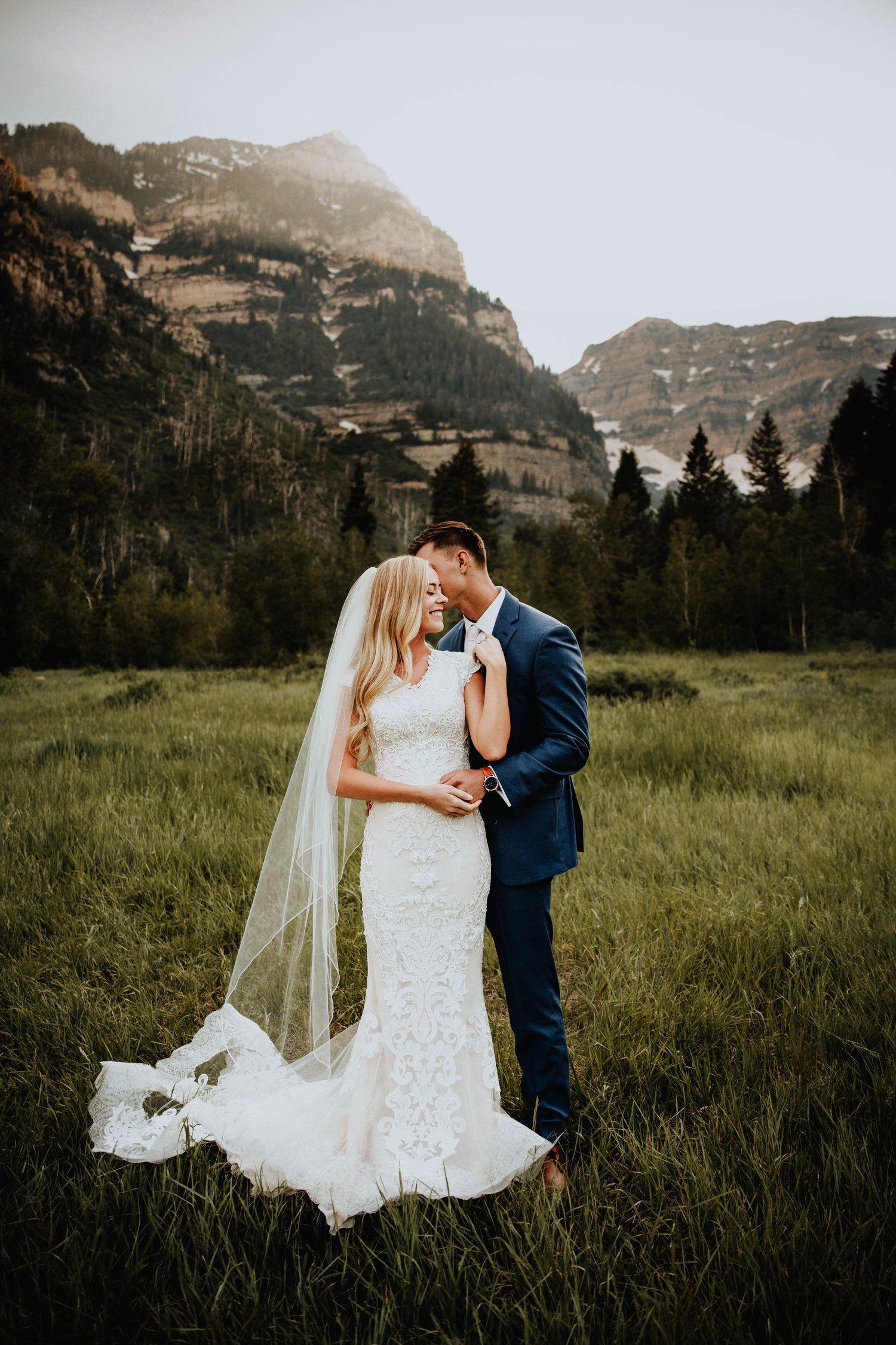 Modest wedding dress with cap sleeves from alta moda modest