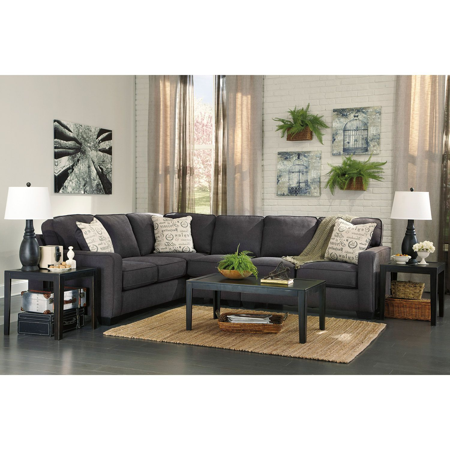 American Signature Furniture Allentown Pennsylvania: 2pc Charcoal Sectional With LAF Sofa