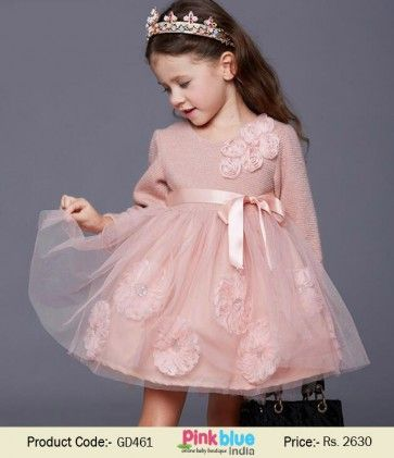 0068d2d6ba7 Baby Girl Special Occasion Full Sleeves Floral Dress in Peach Color ...