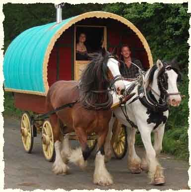 Awesome Traditional Horsedrawn Gypsy Caravans Or Bow Top Canvas Covered