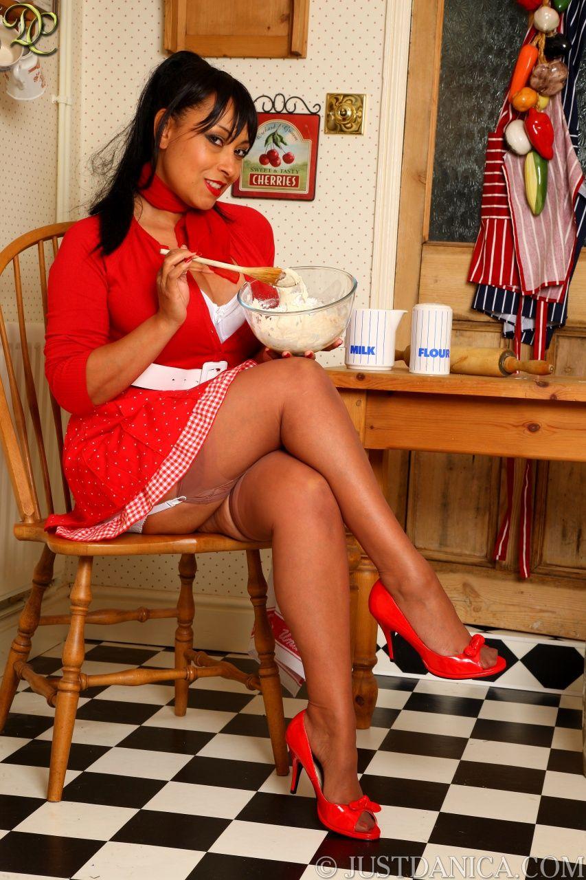 Danica Collins makes a mess in the kitchen Danica