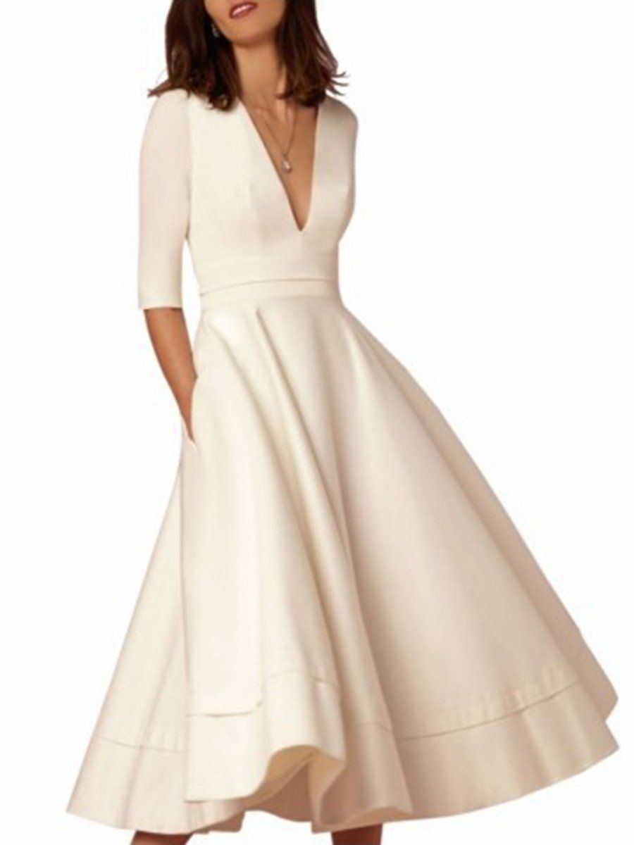 b75f165ce3b JustFashionNow Women Prom Dress Swing Dress 3 4 Sleeve Paneled Solid Dress