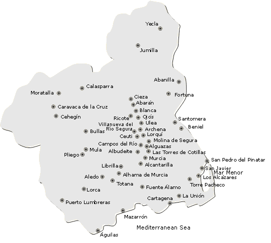 Mapa de la regin de Murcia con sus municipios maps Pinterest